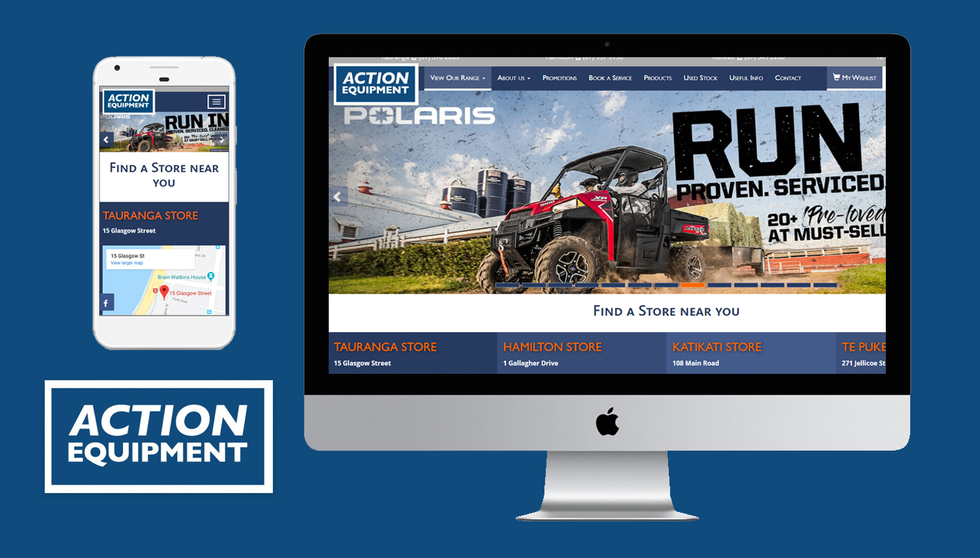 Acre Technologies Website built a fully responsive SEO ready website for Action Equipment